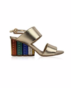 Salvatore Ferragamo Gold Leather Gavi Heeled Sandals Us 7c Eu 37.5