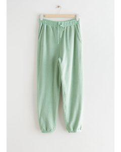 Terrycloth Drawstring Trousers Light Green
