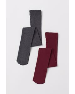 2-p Basic Cotton Tights Sg Red