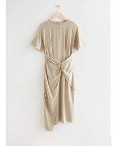 Asymmetric Twist Detail Midi Dress Beige