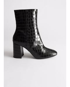 High Leather Ankle Boots Black Croc