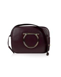 Salvatore Ferragamo Wine Leather Gancino Vela Cc Mint Shoulder Bag