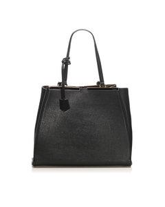 Fendi 2jours Leather Tote Bag Black
