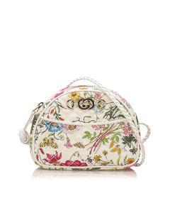 Gucci Floral Trapuntata Nylon Crossbody Bag White
