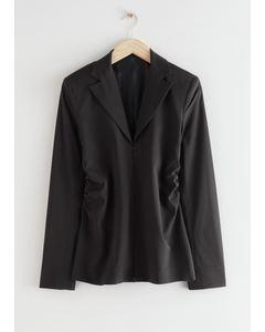 Tailored Padded Shoulder Blouse Black