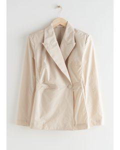 Blazer-Bluse Mit Ein-Knopf-Verschluss Creme