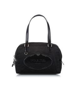 Prada Canapa Tessuto Shoulder Bag Black