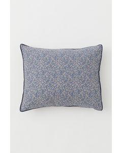 Gemusterter Kopfkissenbezug Taubenblau/Kleingeblümt