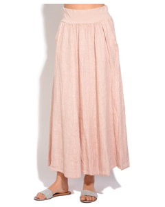 Fluid Long Skirt With Pockets And Elastic Waistband
