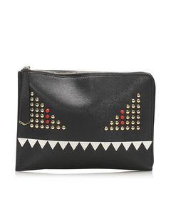 Fendi Monster Leather Clutch Bag Black