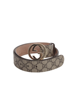 Gucci Gg Supreme Double G Belt Brown