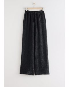 Relaxed Silk Blend Drawstring Trousers Black