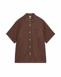Short-sleeved Linen Shirt Brown