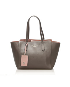 Gucci Swing Leather Tote Bag Brown