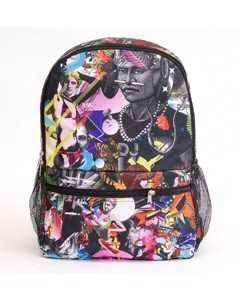 Mr. Gugu & Miss Go Popping Collage Unisex Backpack Fancy Black