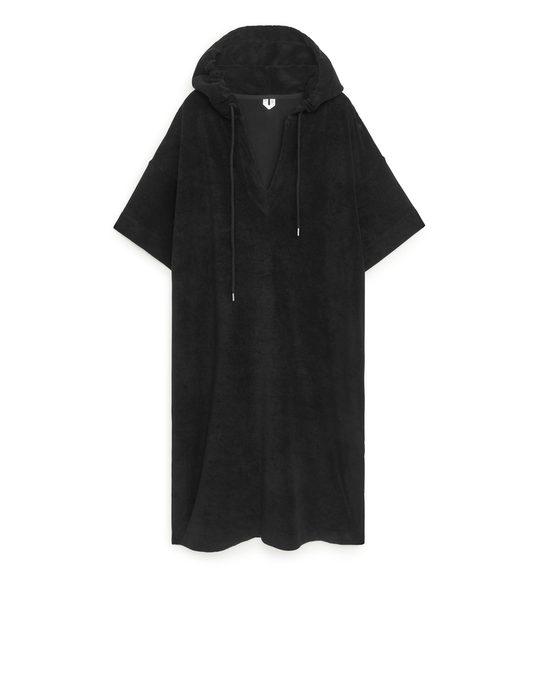 Arket Hooded Towelling Dress Black