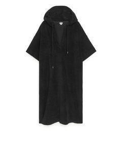 Hooded Towelling Dress Black