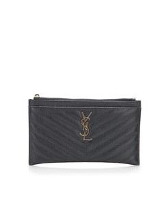 Ysl Monogram Bill Leather Pouch Black