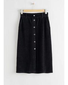 Velvet Midi Pencil Skirt Black