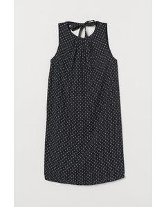 Kleid mit Bindebändern Schwarz/Gemustert