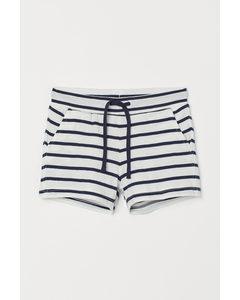 Shorts aus Baumwolljersey Weiß/Blau gestreift