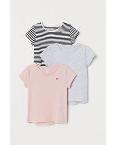 3er-Pack Jerseyshirts Hellrosa/Gestreift