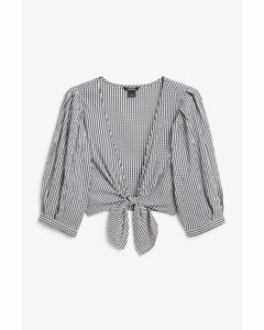 Tie Front Crop Blouse Black And White Gingham