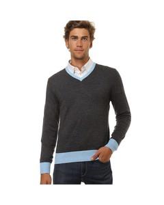 Bi-colored V-neck Sweater