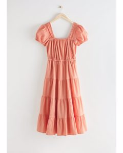 Tiered Puff Sleeve Cotton Midi Dress Peach
