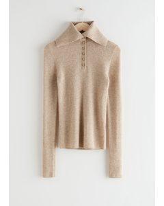 High Collar Knit Jumper Beige