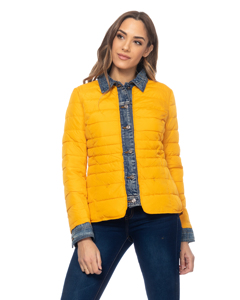 Short Anorak With Denim Neck, Cuffs And  Finishings
