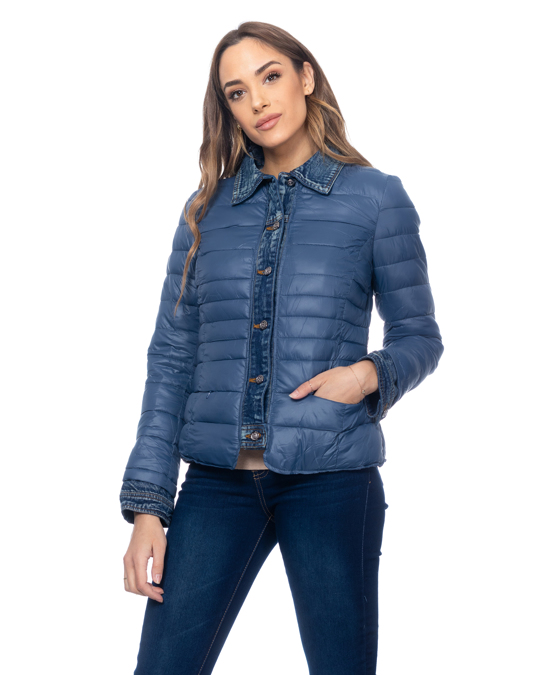 Tantra Short Anorak With Denim Neck, Cuffs And  Finishings