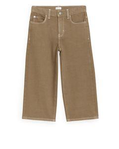 Weite Jeans Dunkelbeige