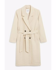 Double-breasted Belted Coat Cream
