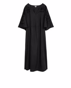 Long Broderie Anglaise Dress Black