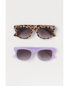 2-pack Solglasögon Ljuslila/leopardmönstrad