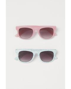 2er-Pack Sonnenbrillen Mintgrün/Geblümt