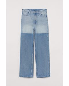 Loose Straight High Jeans Denimblå