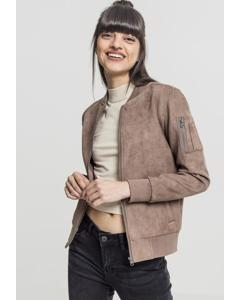 Damen Ladies Imitation Suede Bomber Jacket