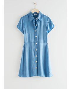 Button Up Mini Shirt Dress Blue