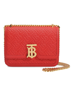 Tb Small Bag In Red Caviar Monogram Embossed Lamb Leather