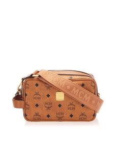 Mcm Visetos Leather Crossbody Bag Brown