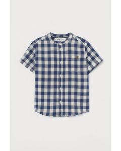 Overhemd Met Halsboordje Marineblauw/geruit