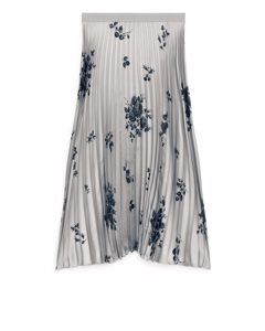 Pleated Floral Skirt Grey