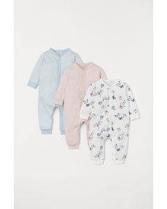 Set Van 3 Pyjamapakjes Lichtroze/vlinders