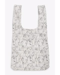 Shopping Tote Abstract Face Print