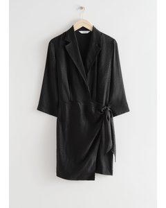 Fitted Jacquard Mini Wrap Dress Black
