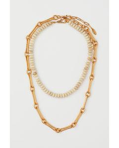 2er-Pack Halsketten Goldfarben