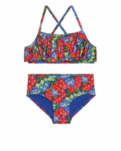 Frill Bikini Set Red/floral