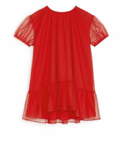Ruffled Tulle Dress Red